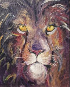 Acrylic painting of a lion by Ona Christie
