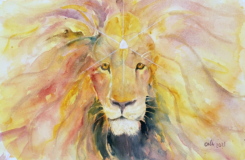 Watercolor lion painting by Ona Christie