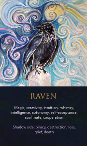 Image of the Raven oracle card from Ona Christie's Spirit Animal Awareness deck
