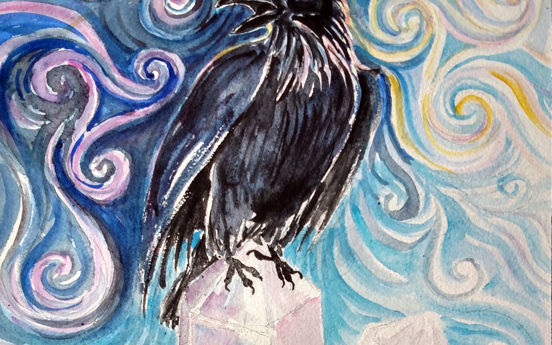 Painting by Ona of a spirit raven sitting on crystals with storm winds and sacred geometry