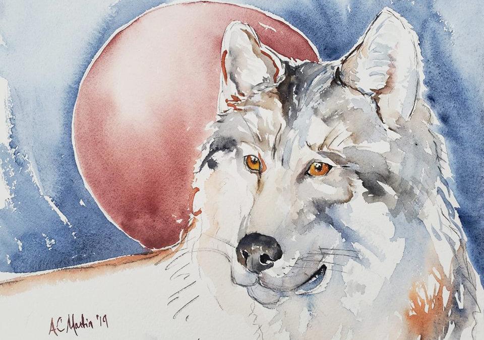 Wolf moon spirit animal painting