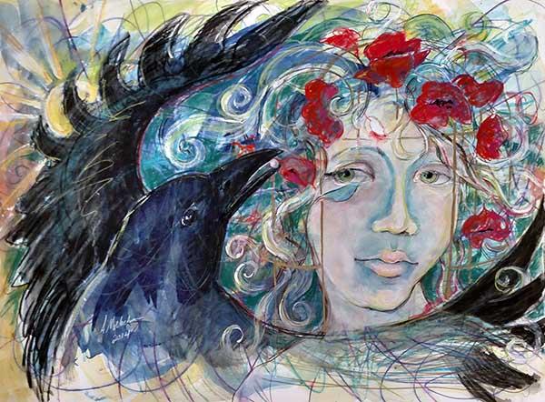 The Pearl - Raven Spirit Animal Painting